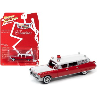"""1959 Cadillac Ambulance Red and White """"Special Edition"""" 1/64 Diecast Model Car by Johnny Lightning"""