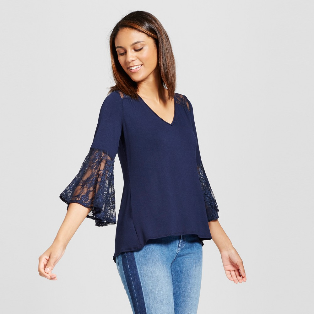 Women's 3/4 Sleeve Knit Blouse with Lace Detail - Notations Blue L