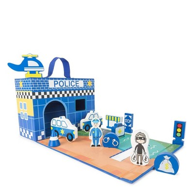 Small Foot Wooden Toys Police Station Playworld In Carrying Case