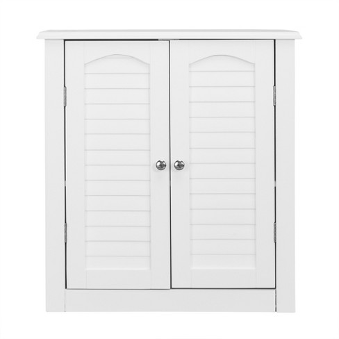 Lombard Two Shutter Style Doors Decorative Wall Cabinet White - Elegant Home Fashions - image 1 of 4