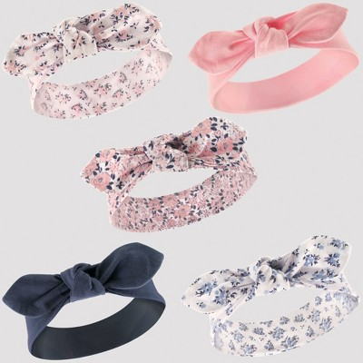 Hudson Baby Girls' 5pk Headband Set - Periwinkle 0-12M