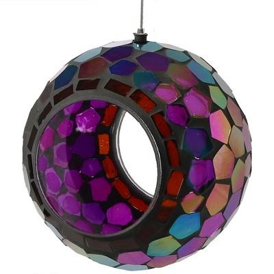 """Sunnydaze Decor Mosaic Glass Wild Bird Feeder - Purple - 6"""""""