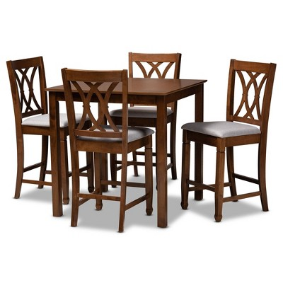 5pc Reneau Upholstered Wood Pub Counter Height Dining Set Gray/Walnut - Baxton Studio