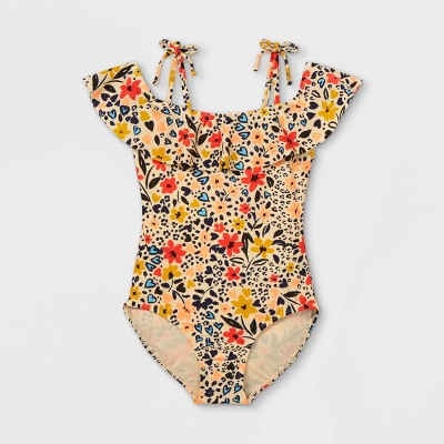 Girls' Floral Print One Piece Swimsuit - Cat & Jack™ Yellow