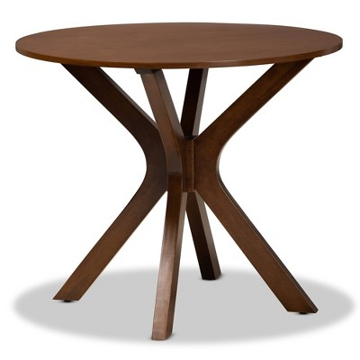 "35"" Kenji Wide Round Wood Dining Table - Baxton Studio"