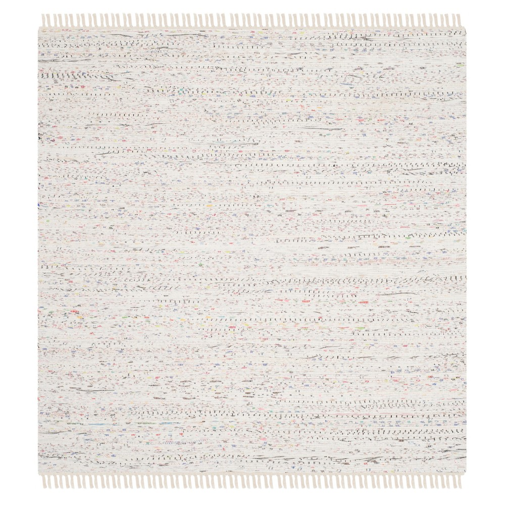 Solid Woven Square Area Rug 8'X8' - Safavieh, Ivory/Multi