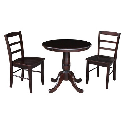 """30"""" Round Dining Table with Raised Legs and 2 Madrid Dining Chairs - International Concepts"""