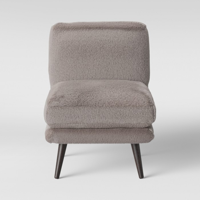 Harper Faux Fur Slipper Chair Brown - Project 62™ - image 1 of 4