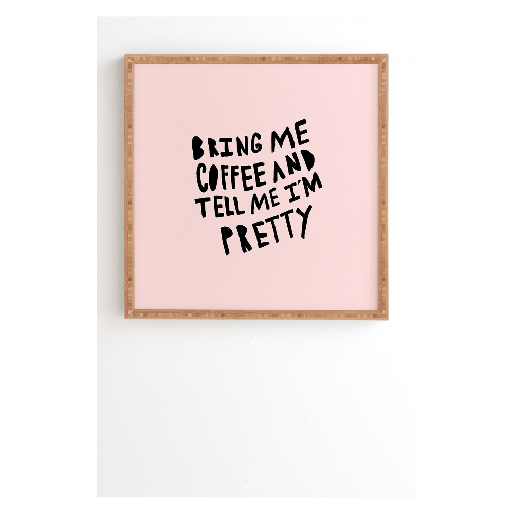 """Image of """"12""""""""x12"""""""" Allyson Johnson Bring Me Coffee Pink Framed Wall Art Poster Print Pink - Deny Designs"""""""