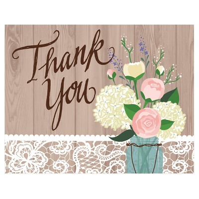 Rustic Wedding Thank You Notes 8 ct