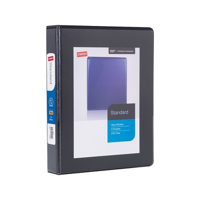 "Staples 1"" Standard 5-1/2"" x 8-1/2"" Mini View Binder with Round Rings Black 580917"
