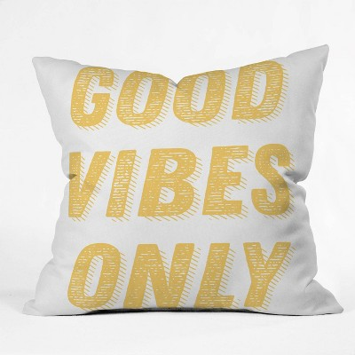 """16""""x16"""" June Journal Good Vibes Only Throw Pillow Yellow - society6"""