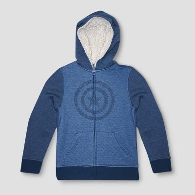 2085b9feebd0 Boys  Captain America Hooded Jacket - Denim Heather