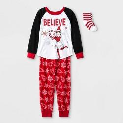 Girls' Elf on the Shelf 2pc Pajama Set with Socks - Black