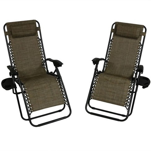 Oversized Zero Gravity Lounge Chair with Pillow and Cup Holder - Set of 2 - Dark Brown - Sunnydaze Decor - image 1 of 6