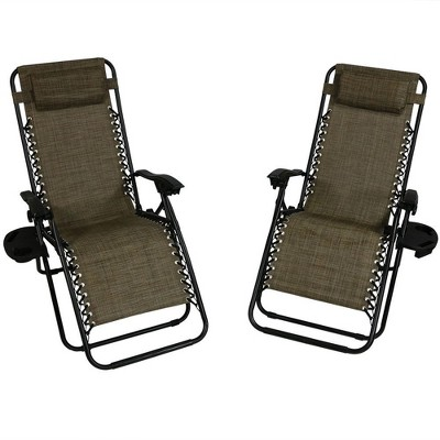 Beau Oversized Zero Gravity Lounge Chair With Pillow And Cup Holder   Set Of 2    Brown   Sunnydaze Decor