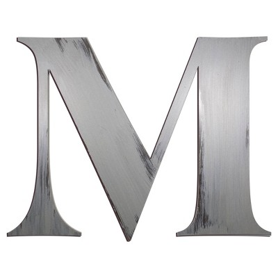 Letter2Word Hand Painted Letter M 3D Wall Sculpture -Nickel
