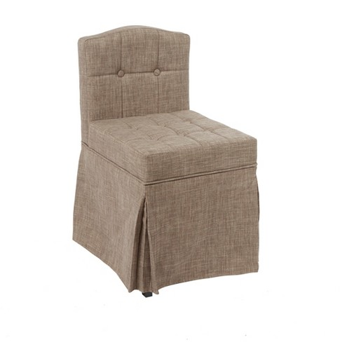 Sally Skirted Swivel Camelback Vanity Chair With Tufted Cushions Tan