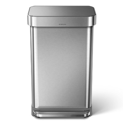 simplehuman 45L Stainless Steel Rectangular Step Trash Can Silver