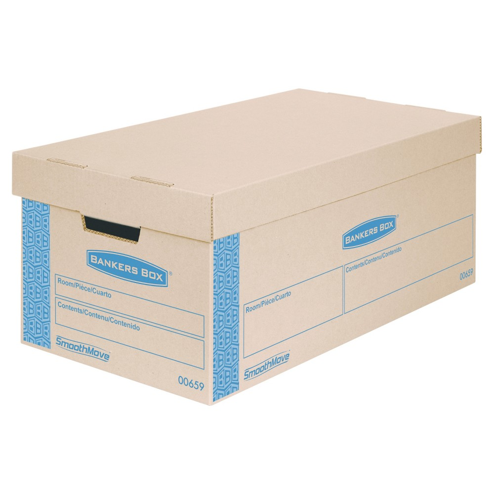 Image of Bankers Box SmoothMove Prime Small Moving Boxes, Lift Lid, 24l x 12w x 10h, Kraft/Blue, 8/CT, Brown Blue