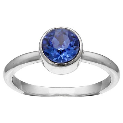 Solitaire Ring with Crystals from Swarovski in Fine Silver Plate - Blue/Gray (Size 8)