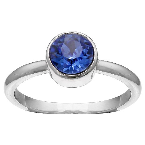 Solitaire Ring with Crystals from Swarovski in Fine Silver Plate - Blue/Gray (Size 8) - image 1 of 2
