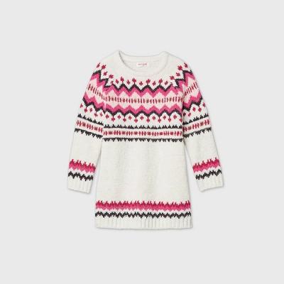 Toddler Girls' Fair Isle Long Sleeve Dress - Cat & Jack™ Cream 2T