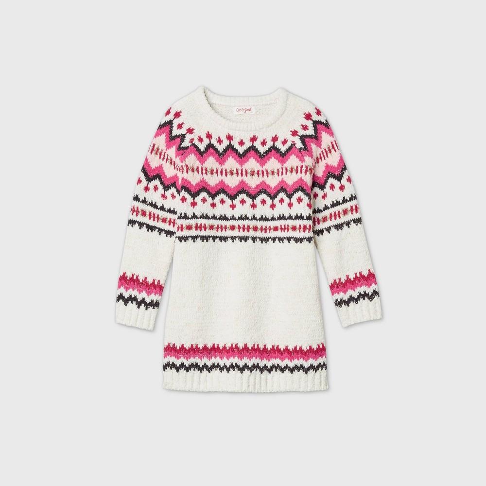 Toddler Girls 39 Fair Isle Long Sleeve Dress Cat 38 Jack 8482 Cream 4t
