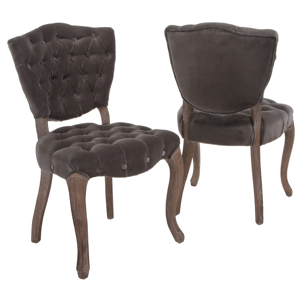 Bates Tufted Charcoal (Grey) Fabric Dining Chairs - Charcoal (Set of 2) - Christopher Knight Home