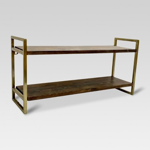 Double Wall Shelf with Polished Brass Finish - Medium - Threshold™ - image 1 of 2