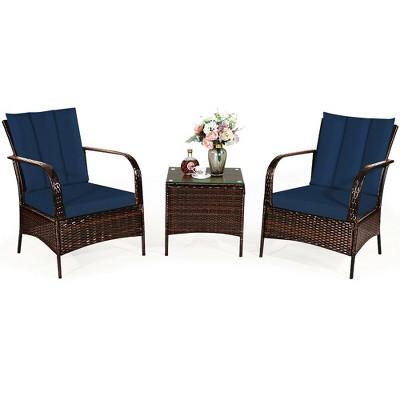 Costway 3 PCS Patio Rattan Furniture Set Coffee Table & 2 Rattan Chair W/Navy Cushions