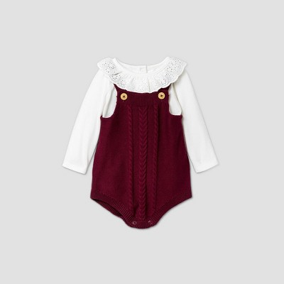 Baby Girls' Sweater Bubble Top & Bottom Set - Cat & Jack™ Burgundy 0-3M