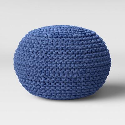 Cloverly Chunky Knit Pouf Blue - Threshold™