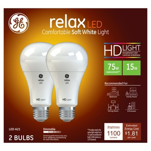 General Electric 75w 2pk equivalent LED HD  White - image 1 of 3