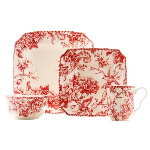 222 Fifth® Adelaide Porcelain 16pc Dinnerware Set Maroon - image 1 of 1