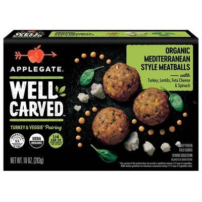 Applegate Well Carved Organic Mediterranean Style Turkey & Vegetable Meatballs - Frozen - 10oz
