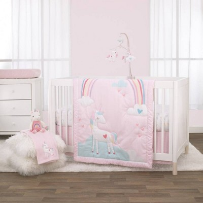 Little Love By Nojo Rainbow Unicorn Crib Bedding Set - 3pc