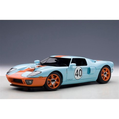 Ford Gt Gulf Livery  Blue With Orange  Cast Model Car By Autoart Target