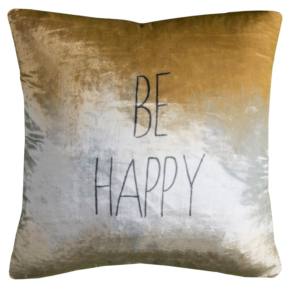 Be Happy Throw Pillow - (20x20) - Rizzy Home, Multi-Colored