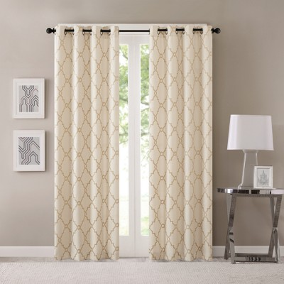 Sereno Fretwork Print Curtain Panel Beige/Gold (50 x108 )