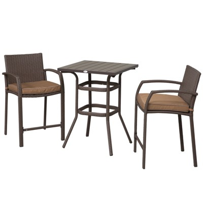 Outsunny 3 Piece Outdoor PE Rattan Wicker Patio Conversation Table Set with 2 Chairs & 1 Center Dining Table