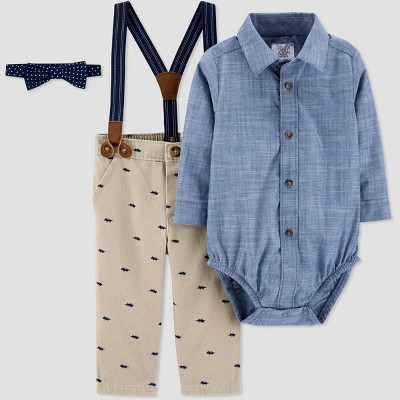 Baby Boys' Shifley Bowtie Suspender Set - Just One You® made by carter's Khaki 6M