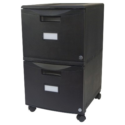 Storex 2-Drawer File Cabinet with Wheels - Black