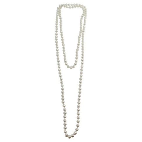 Long Faux Pearl Necklace - Silver/White - image 1 of 1
