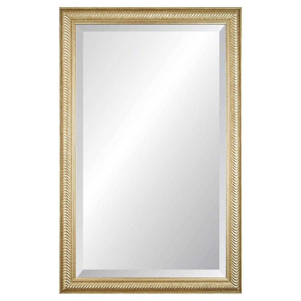 "Image of ""26"""" x 41"""" Wave Champagne Framed Beveled Glass Wall Mirror - Alpine Art and Mirror, Medium Silver"""