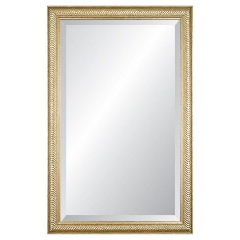 Rectangle Wave Decorative Wall Mirror with Champagne Frame : Target