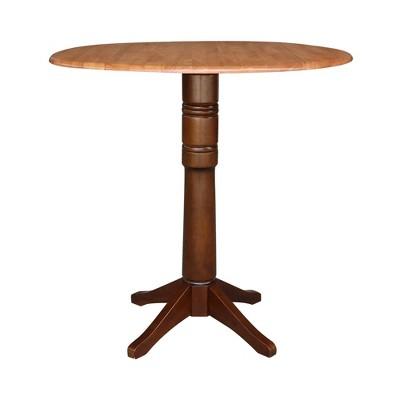Damen Round Dual Drop Leaf Pedestal Table Cinnamon/Espresso - International Concepts