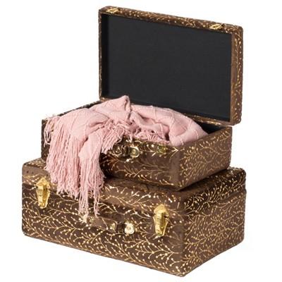 Vintiquewise Decorative Tufted Velvet Suitcase Treasure Chest Set of 2, Brown