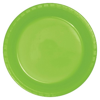 "Fresh Lime Green 9"" Plastic Plates - 20ct"