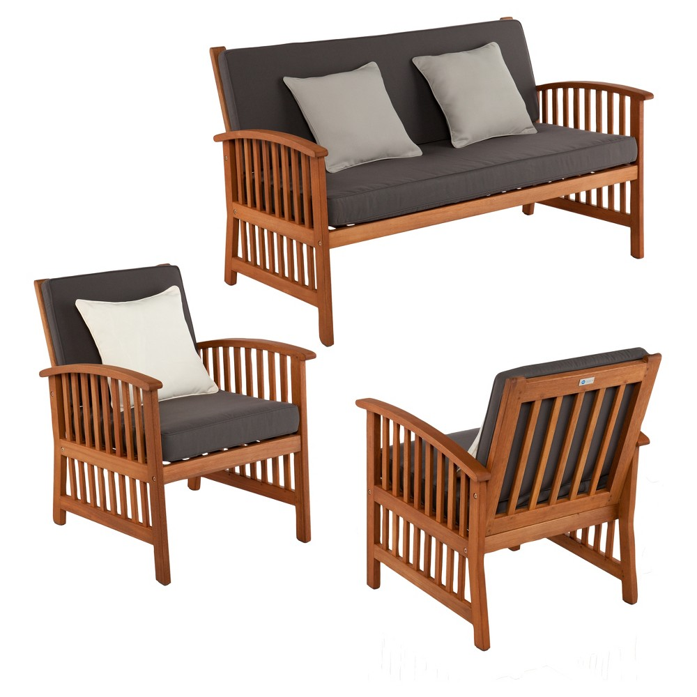 Castille 3pc Brazilian Hardwood Patio Deep Seating Set - Natural - Aiden Lane, Red Earth
